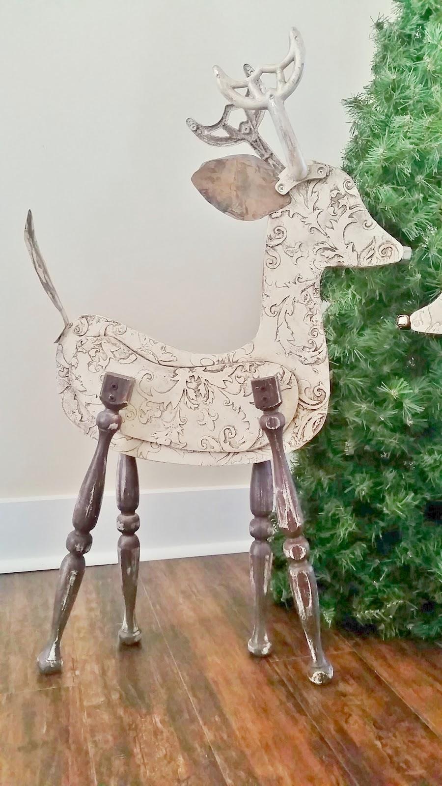 reindeer art - Large Reindeer Christmas Decorations