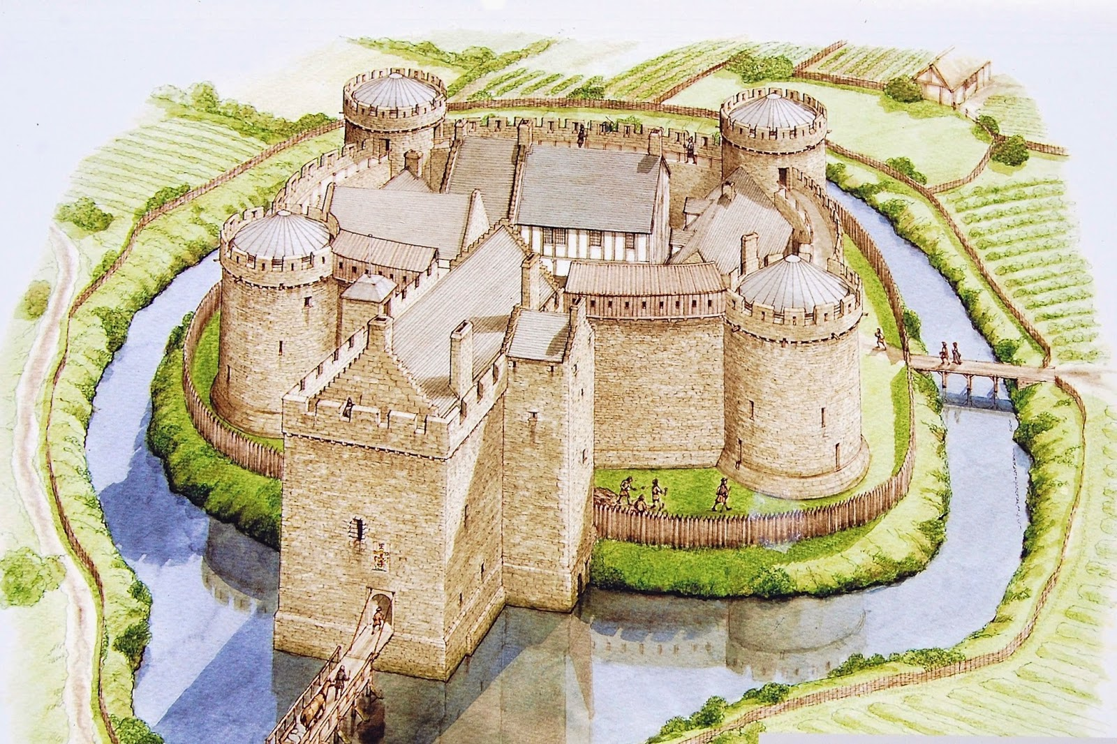 Artist's rendering of Rothesay Castle in the 1540s