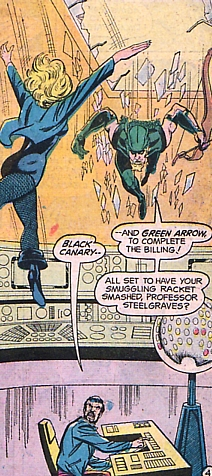 Action Comics #441, Green Arrow and Black Canary drop in through the skylight, Mike Grell