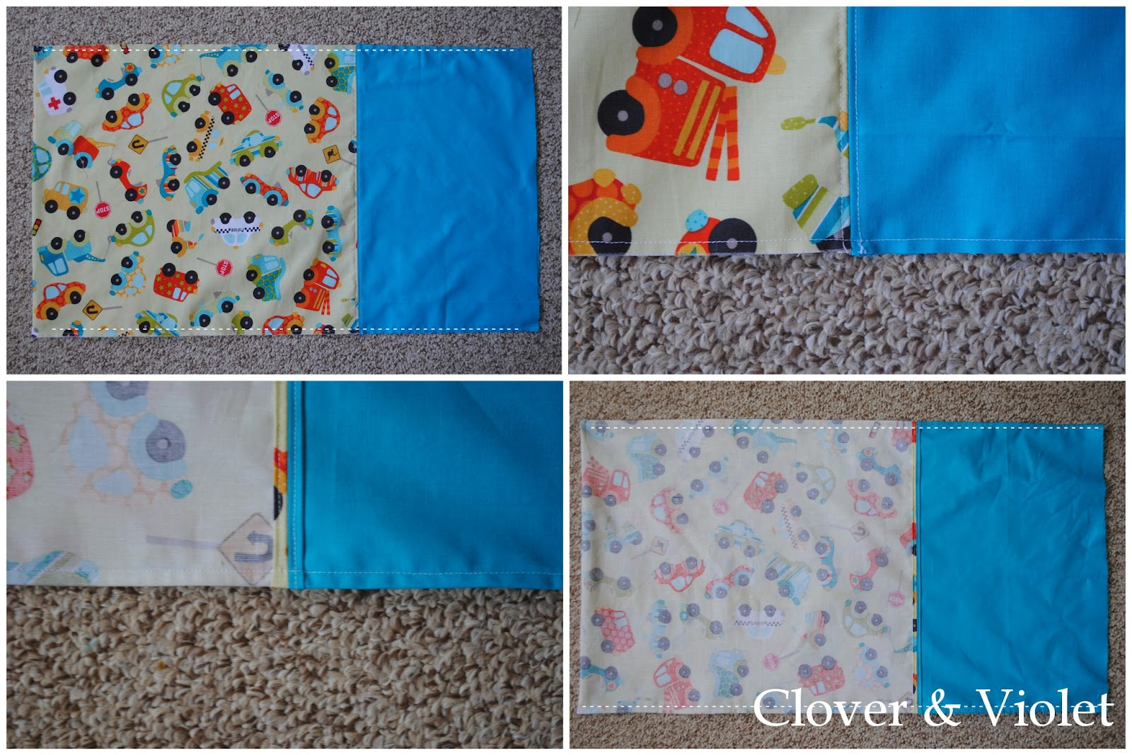 Turn the pillowcase wrong sides out and sew the long seams again with a 3/8\u2033 seam allowance making sure to catch all the raw edges inside the seam: