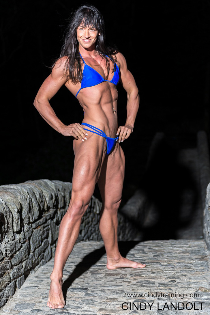 Cindy Landolt Models Her Shredded Physique In A Blue Bikini