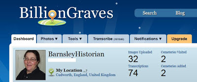 Screenshot of the Billion Graves website showing my dashboard - I've uploaded 32 images and visited 2 cemeteries