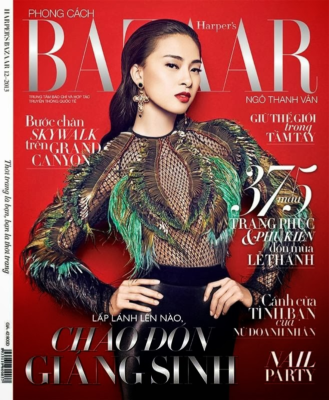 Magazine Cover  :Ngo Thanh Van Magazine Photoshoot Pics on Harper's Bazaar Vietnam Magazine Cover December 2013