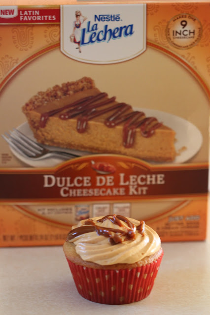Dulce de Leche Cheesecake-Filled Cupcakes | Tortillas and Honey | #shop