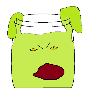 angry green mass of goo reaching out of a jar. Yellow eyes and wide open mouth.