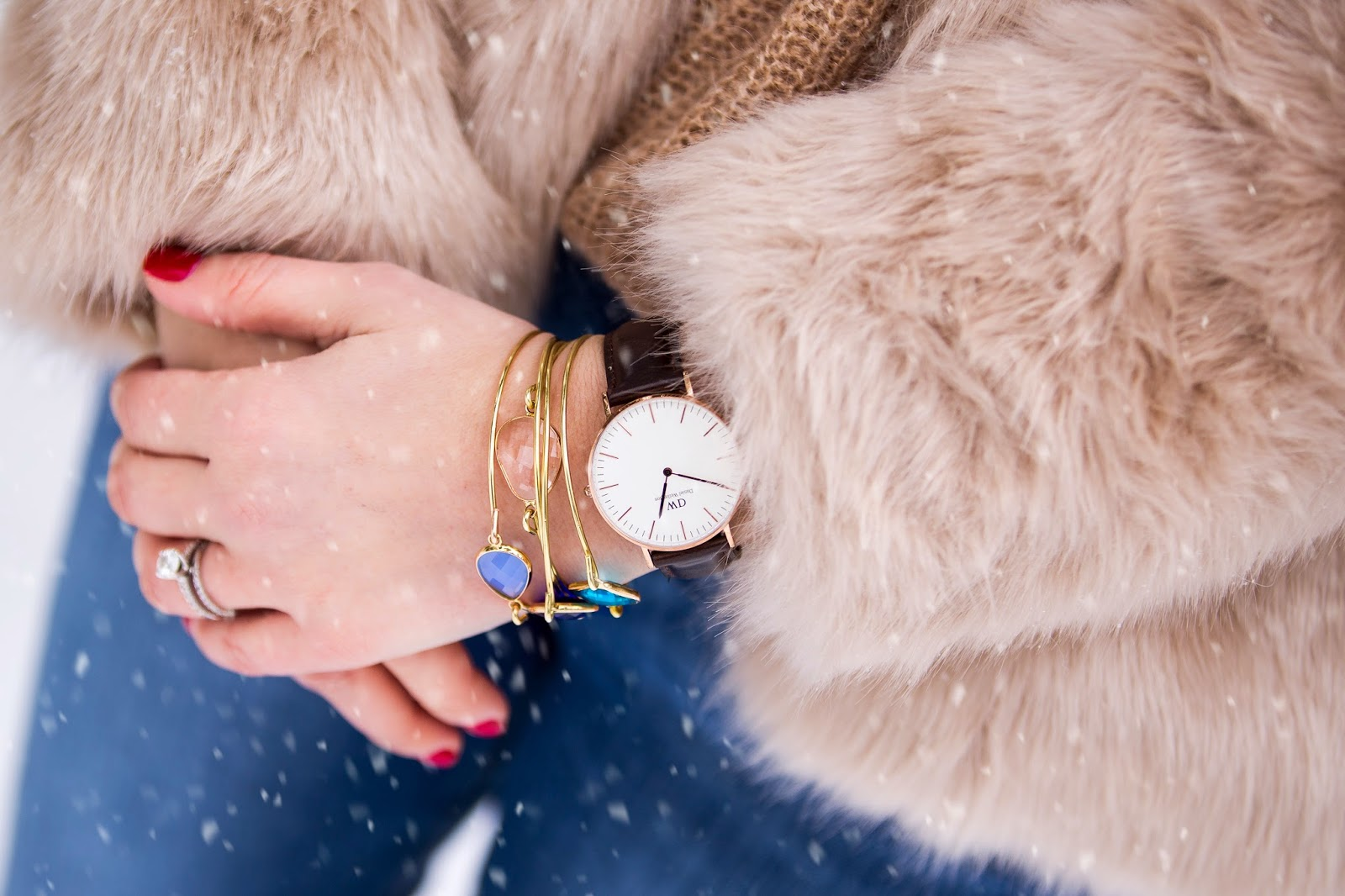 faux fur jacket, Suzanna Studded Suede Ankle Boots, daniel wellington
