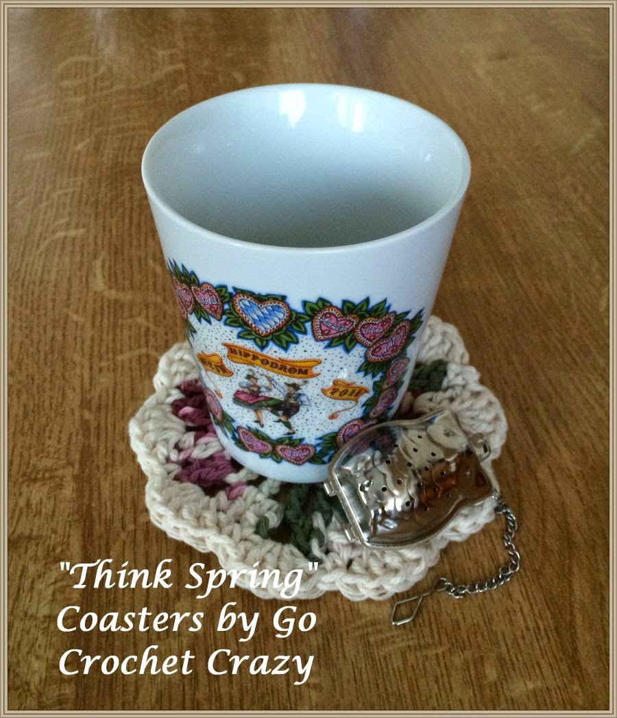 """Think Spring"" Cotton Crochet Coasters, free pattern available on Go Crochet Crazy blog"