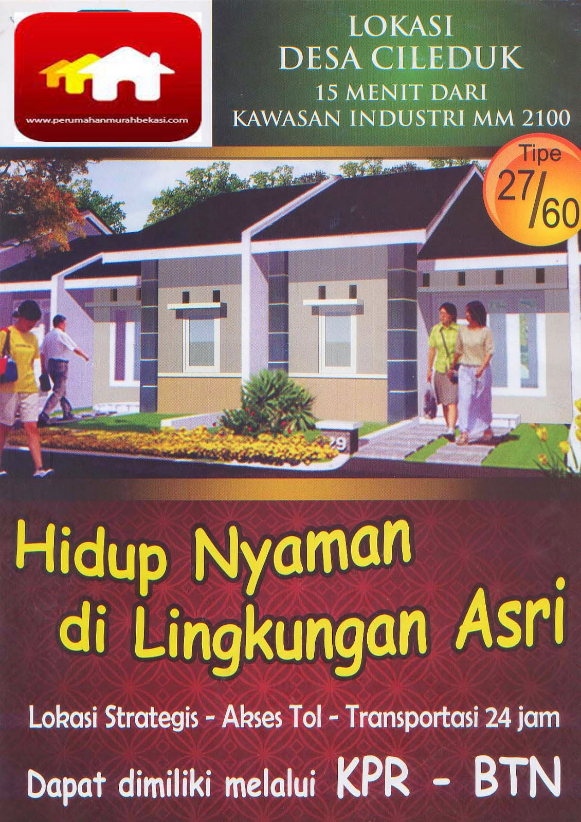 Rumah Subsidi Bekasi DP 3juta Di  Kawasan Cibitung Bekasi