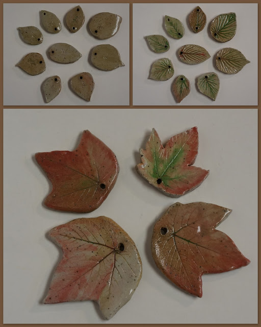 Beautiful ceramic bead and pendant natural pressed leaves, by Lily L.