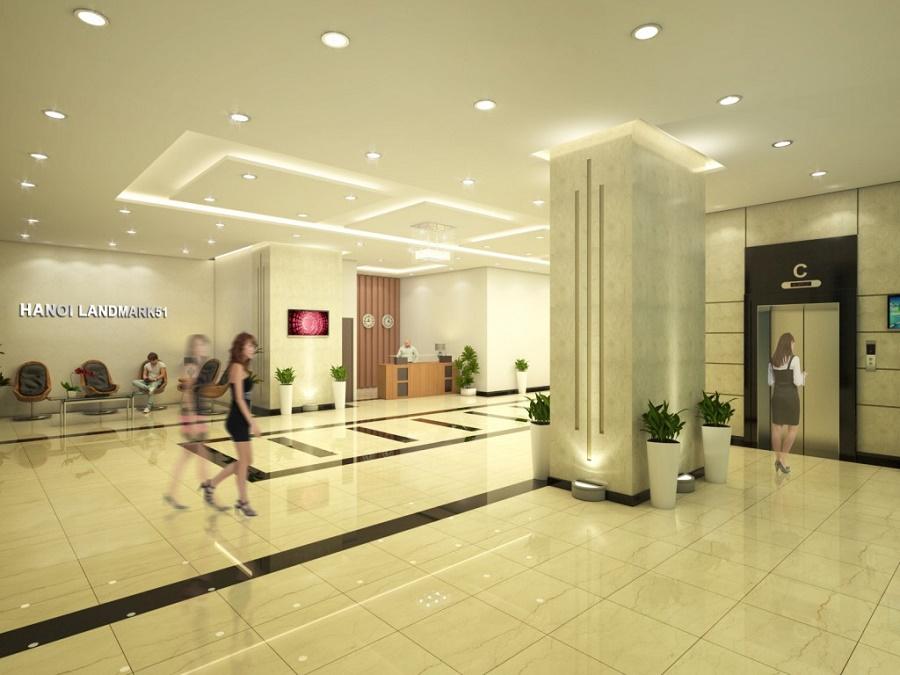 sảnh thang máy căn hộ hanoi landmark 51