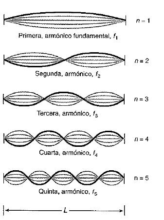 modos de vibracion para una cuerda con extremos fijos