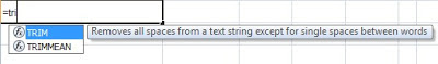 using TRIM function in Excel