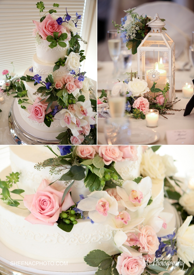 Floral wedding cake, lantern center pieces