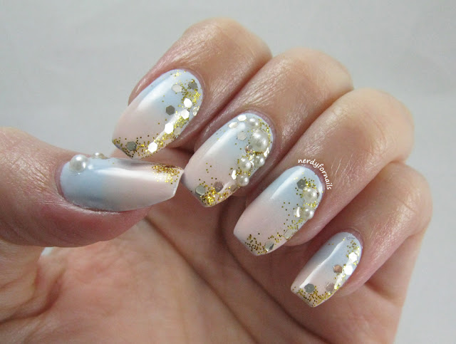 Pantone Color of the Year 2016 Rose Quartz & Serenity Beachy Nail Art Gradient with Pearls and Gold Glitter