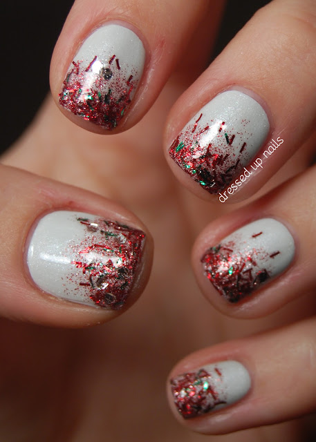 Christmas glitter gradient nails with OPI My Boyfriend Scales Walls, Wet n' Wild 2% Milk, Pure Ice Sleigh Ride