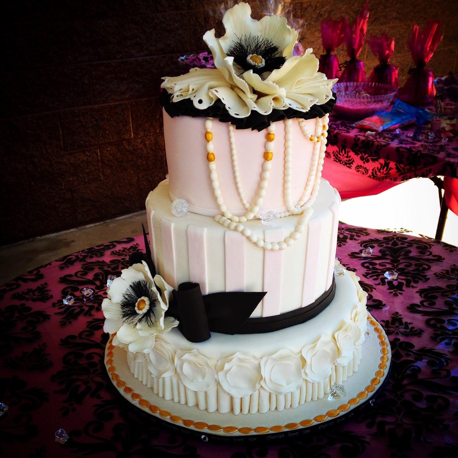 Pink Black Baby Shower Cake Bakeshopmarie
