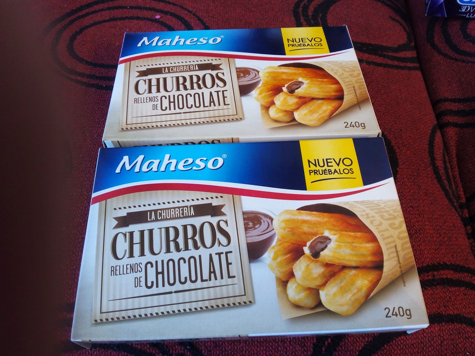 Churros rellenos de chocolate de Maheso