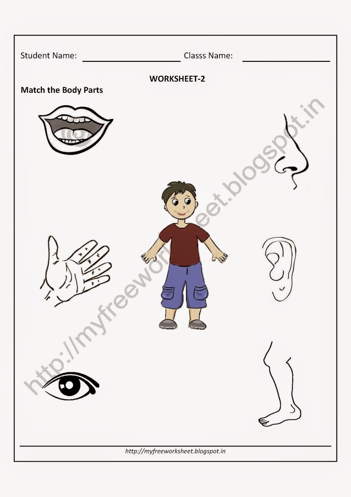 Download Pdf Free For Nursery Kids Match The Body Parts Worksheet 2