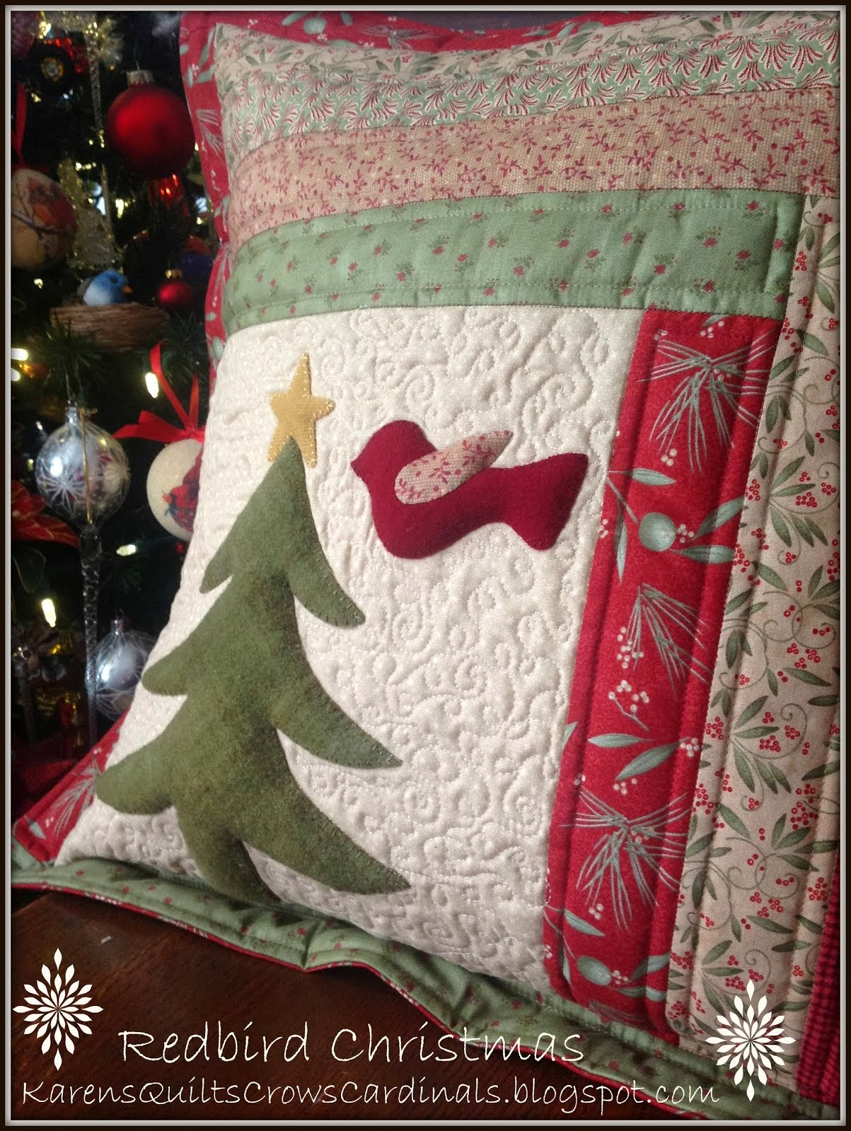 "Free Applique Template ""Redbird Christmas"""