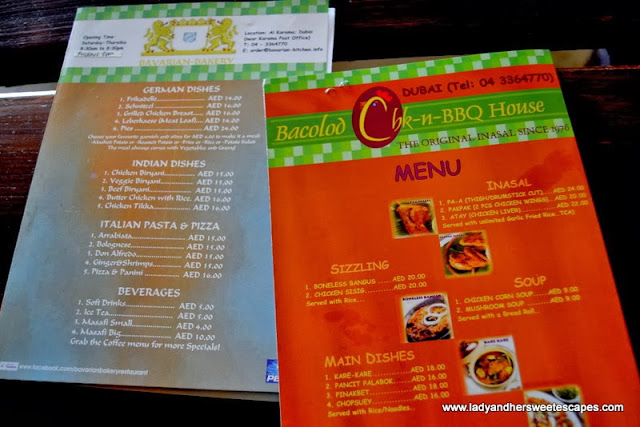 Bacolod Chk-n-BBQ House and Bavarian Bakery's menu