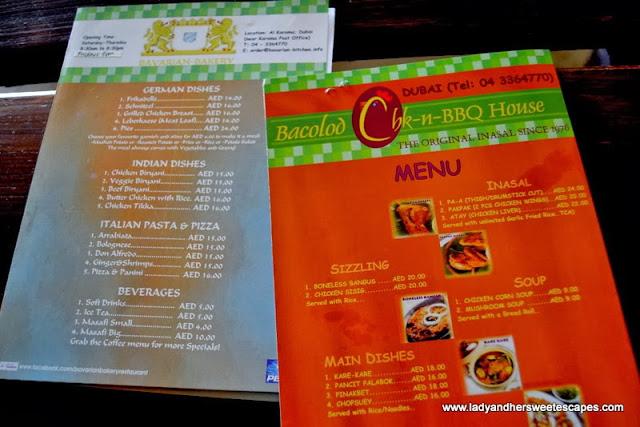 Bacolod Chk-n-BBQ House and Bavarian Bakery's menu