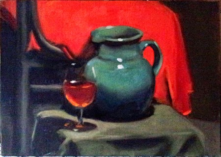 Oil painting of a large blue jug beside a glass of tea (masquerading as a glass of wine) and in front of a wooden chair covered with red drapery.