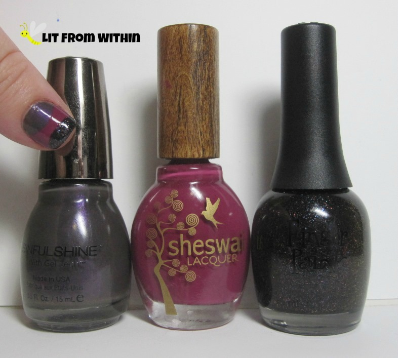 Bottle shot:  Sinful Colors Who's The Gloss, Sheswai Totally, and Finger Paints Winter Chill