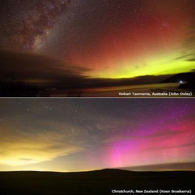 Aurora australis visto desde Tasmania y de Nueva Zelanda el 1 de junio de 2013