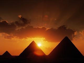 Pyramids At Sunset