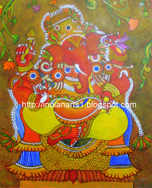 Arts and crafts ganesha mural painting kerala mural style for Canvas mural painting