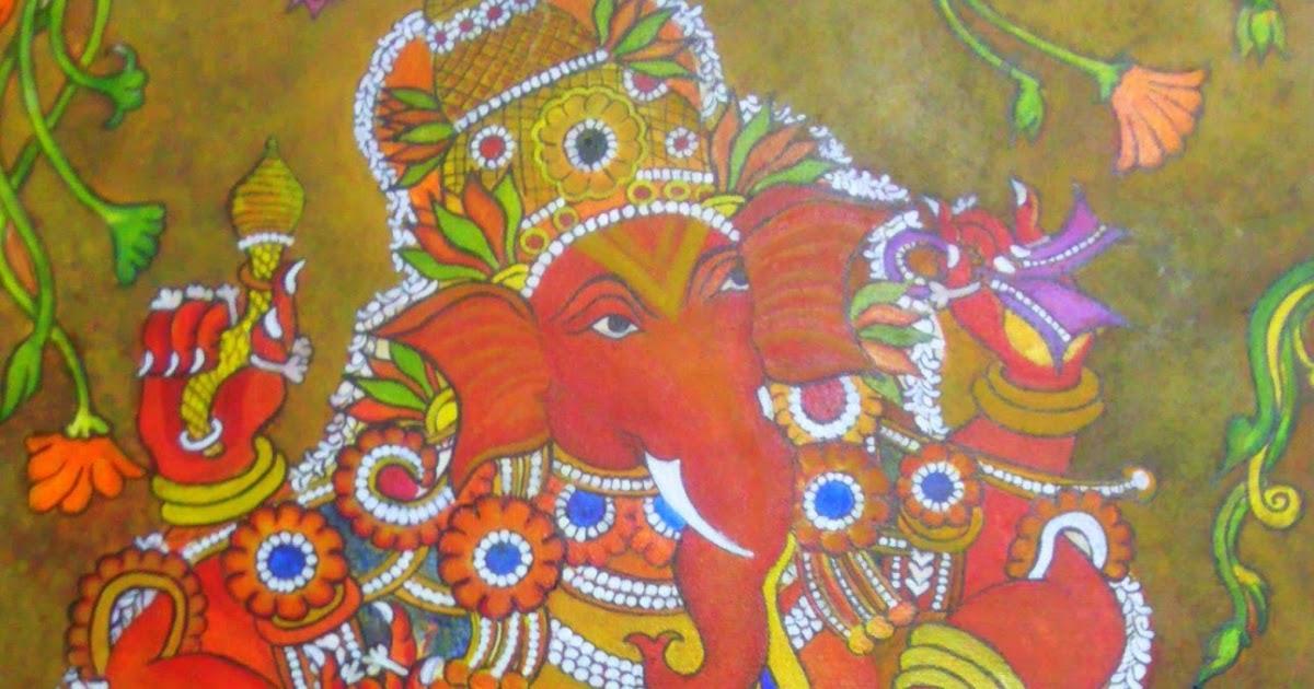Arts and crafts ganesha mural painting kerala mural style for Arts and crafts mural