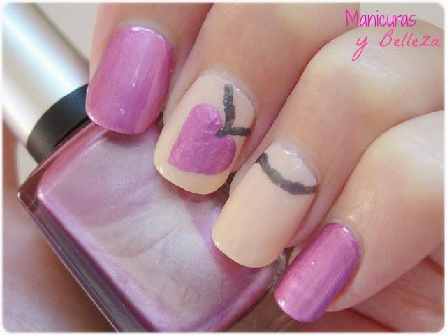 Manicura rosa uñas colgante de corazón amor de verano Nails nail art pink summer love necklace heart Kiko mirror