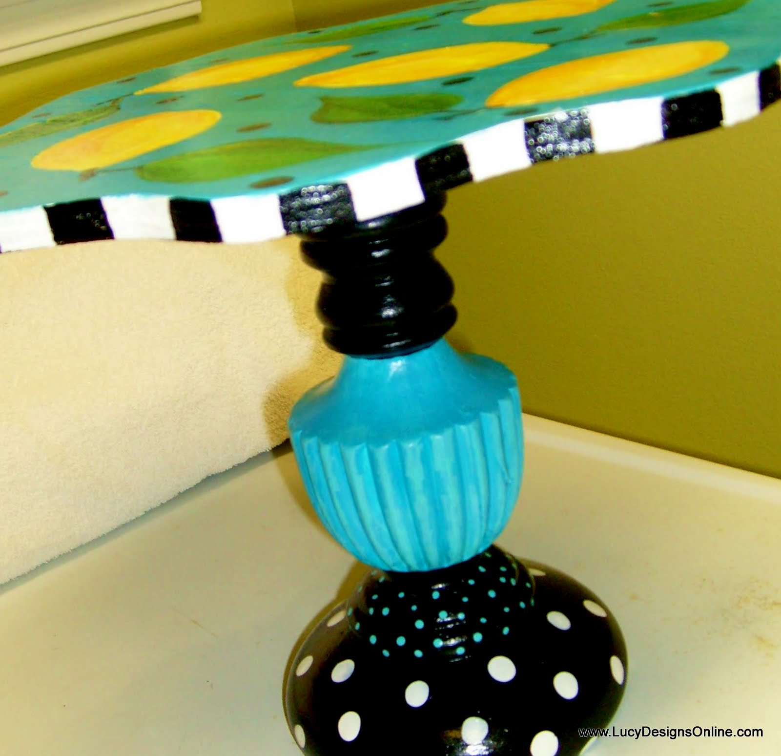 hand painted candlestick base