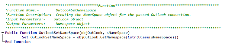 Outlook NameSpace MAPI in UFT
