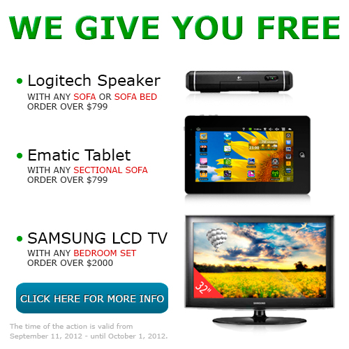 Promo Action - IPads, eGlides, LCD TVs for gift by FurnitureNYC.net