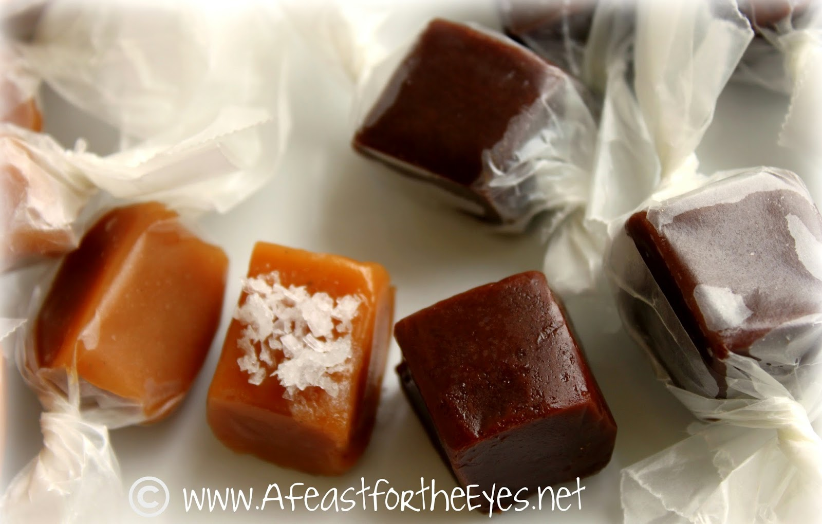 Creamy Dark Chocolate Caramels or Salted Vanilla Bean Caramels-- Two ...
