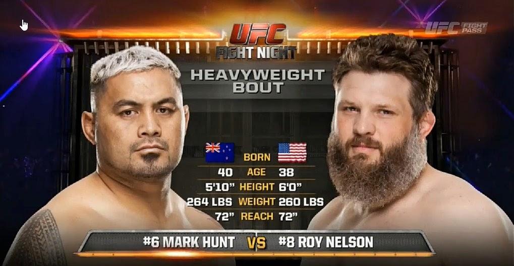 http://fightnext.com/video/411NGYHGDDA6/Mark-Hunt-vs-Roy-Nelson--UFC-Fight-Night-5