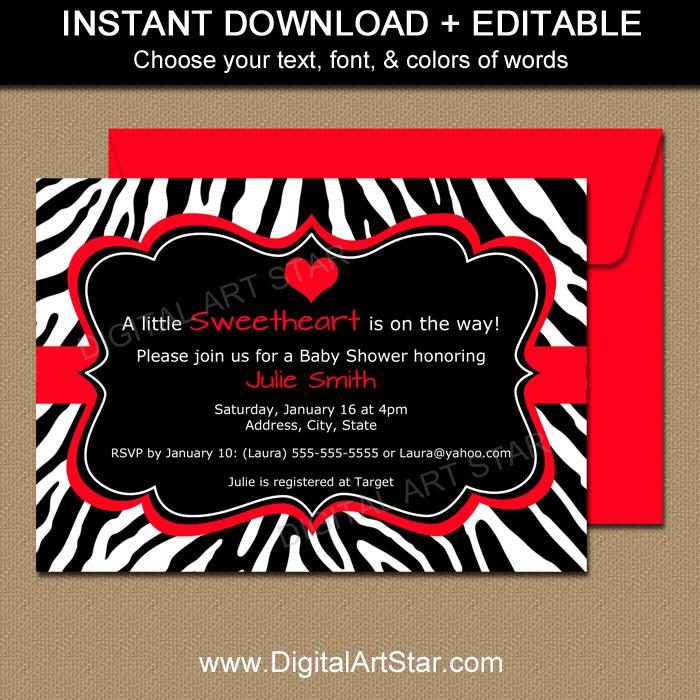 Zebra baby shower invitations templates datariouruguay stopboris Choice Image