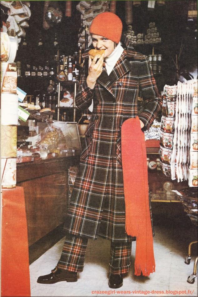 plaid maxi long coat Ruppert 1969 60s 1960
