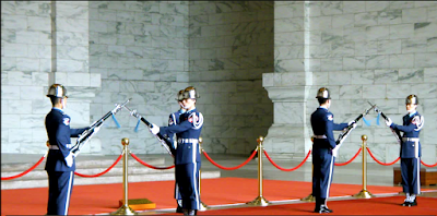 Close up look at changing guards ceremony at CKS Memorial Hall Taipei