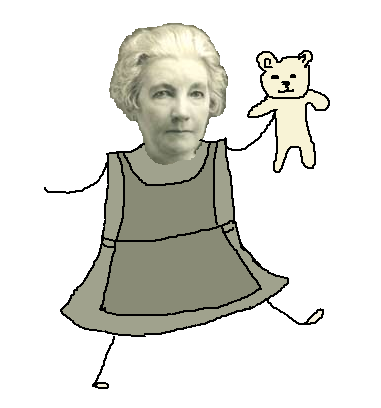 A picture of 70-year-old Laura Ingalls Wilder's head pasted on a cartoon body carrying a teddy bear.  The picture is in sepia tones.
