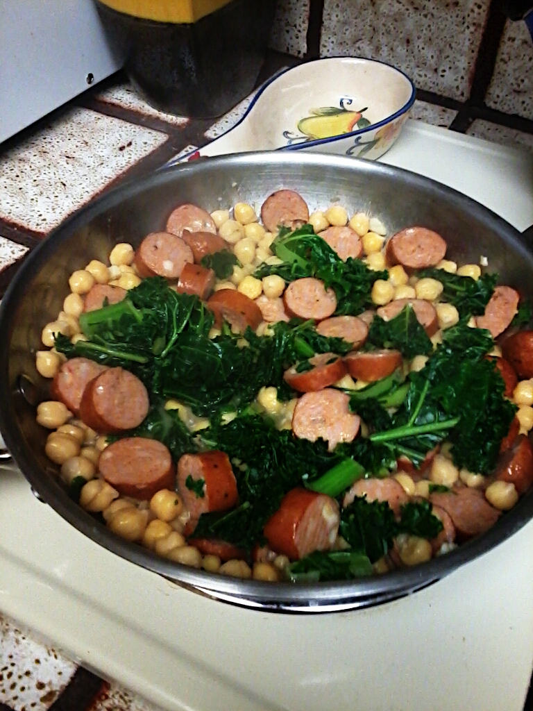 Couscous Salad  with Sausage, Greens and Beans
