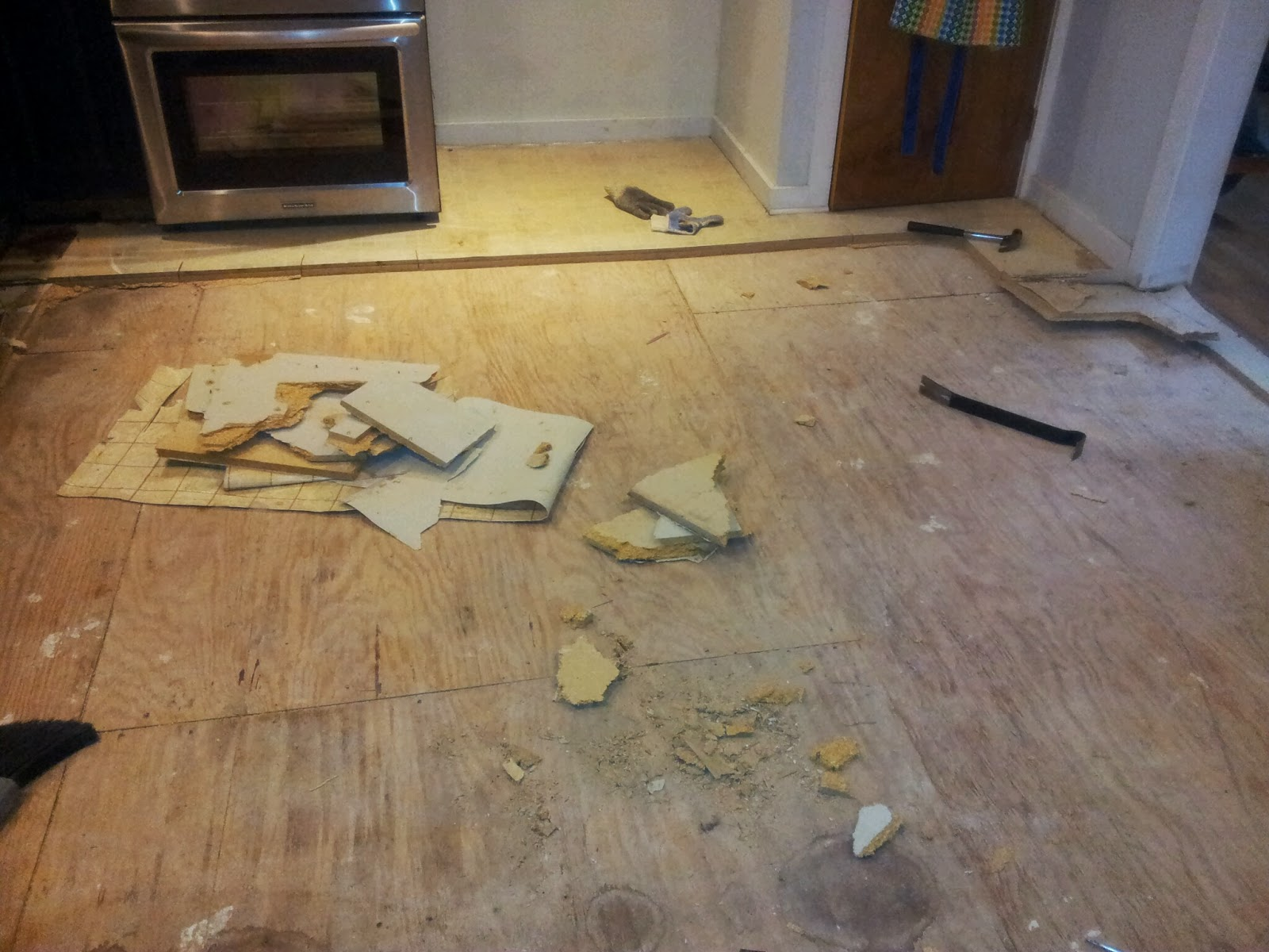 Our Kitchen Floor Demolition Has Begun Ian Francis - Linoleum floor stain removal