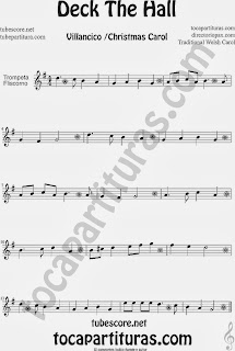 Partitura de Deck The Hall para Trompeta y Fliscorno Villancico Popular Christmas Carol Sheet Music for Trumpet and Flugelhorn Music Scores