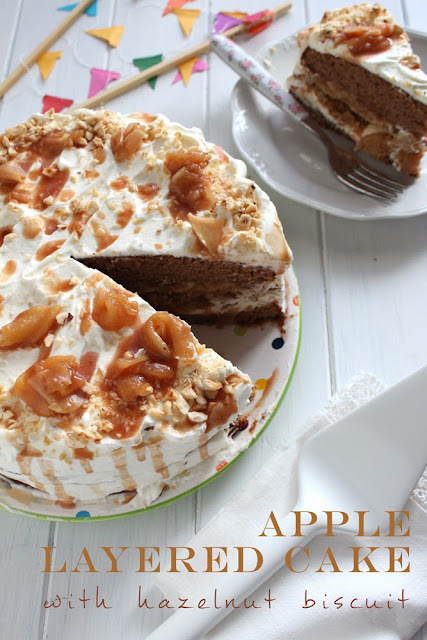apple layered cake with hazelnut biscuit