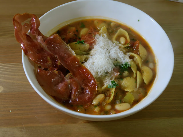 Pasta e Fagioli with Crispy Prosciutto from Date Night In | Dani Elis | salt sugar and i