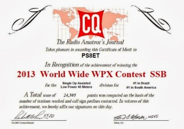 CQ WPX SSB  2013 - 1º Lugar 40m