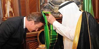 David Cameron receives the King Abdullah Decoration One from King Abdullah of Saudi Arabia