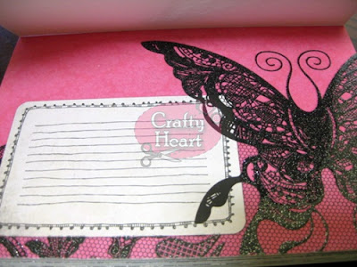 DCWV Street Lace - Fuchsia paper with embossed, glittered butterfly motive
