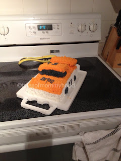 orange and white nascar cake